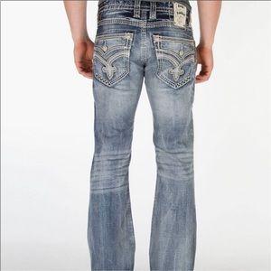 Rock Revival Lamont Slim Boot Jeans 34x32 Buckle